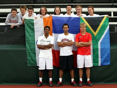 Tennis players with flags